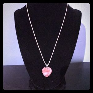 Jewelry - Red' Rose Quartz Heart w/ .925 necklace (OS) NEW!